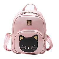 Рюкзак женский кожаный Кот для девочек, девушек (розовый), фото 1