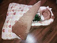 Кокон с сердечками + плед + ортопедическая подушка, фото 1