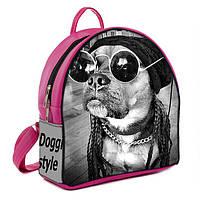 Розовый рюкзак в принт модной собачки