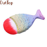 Кисть Рыбка русалка для пудры румян тональной основы НОВИНКА Кисточка для макияжа широкая большая