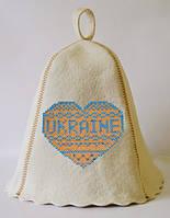 Шапка для бани и сауны с вышивкой 100% шерсть  Ukraine