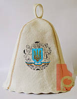 Шапка для бани и сауны с вышивкой 100% шерсть Герб
