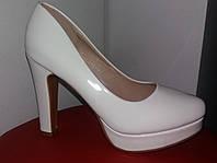 Свадебные белые лак туфли платформа; Размер 36, 38, 40 (маломер)