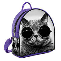 Сиреневый рюкзак в принт кот в очках