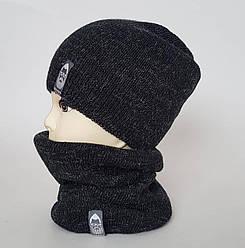 Шапка серого цвета с бафом  мужской комплект