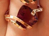 Кольцо серебряное с золотыми накладками Корсика с турмалином