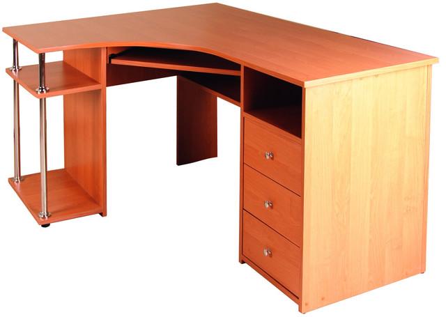 Стол компьютерный С-820 Ольха (1500х1100х750h). Удобный угловой компьютерный стол. Оборудован выдвижной полкой под клавиатуру, местом для системного блока и сканера, а также 3-мя ящиками. Большая рабочая поверхность позволяет работать с документами большого формата.