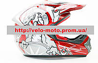 Шлем кроссовый HF-117 красный