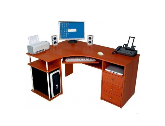 Стол компьютерный С-820 (1500х1100х750h) М яблоня. Удобный угловой компьютерный стол. Оборудован выдвижной полкой под клавиатуру, местом для системного блока и сканера, а также 3-мя ящиками. Большая рабочая поверхность позволяет работать с документами большого формата.