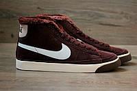 Зимние кроссовки Nike Blazer High Winter chocolate с мехом