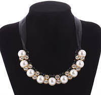 Ожерелье Pearl с черным/бижутерия/цвет ленты черный/цвет искусственных камней белый и черный