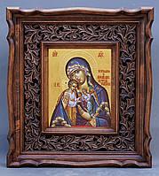 Киот для иконы византийский, с резной деревянной рамой., фото 1