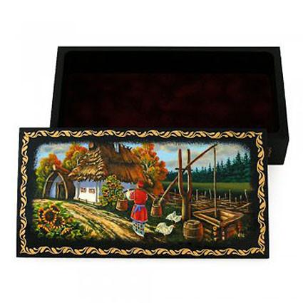 Шкатулка сувенир ручной работы пейзаж - Украинские сувениры в Тернополе