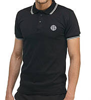 Модная футболка Поло Stone Island черная