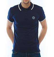 Модная футболка Поло Stone Island синяя