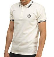 Модная поло футболка Stone Island белая