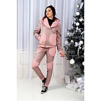 Женский теплый спортивный костюм батал из стеганой плащевки и трехнитки (3 цвета)