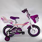 Детский велосипед Crosser Kids Bike 12 дюймов с сиденьем для куклы бело-фиолетовый, фото 3