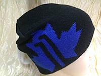 мужская спортивная шапка  двойной вязки  цвет -черный с синим