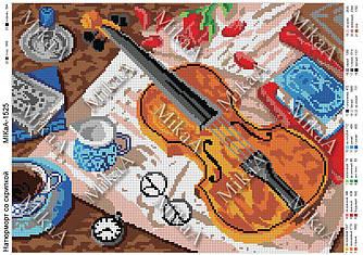 """Схемы для полной зашивки бисером """"Натюрморт со скрипкой""""А3"""