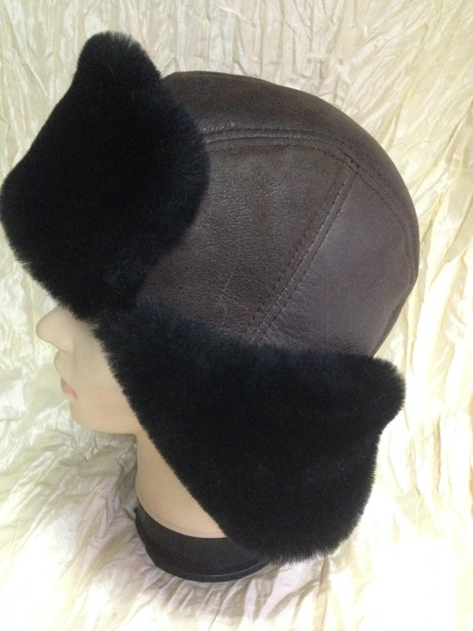 Мужская коричневая ушанка из натуральной овчины с чёрным мехом