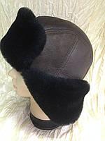 Мужская коричневая ушанка из натуральной овчины с чёрным мехом , фото 1