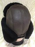 Мужская коричневая ушанка из натуральной овчины с чёрным мехом , фото 2