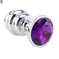 Ребристая анальная пробка с кристаллом металлическая фиолетовая, фото 1