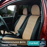 Чехлы для Honda CR-V, Черный + Капучино цвет, Экокожа