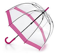Женский зонт-трость прозрачный Fulton Birdcage-1 L041 Pink розовый
