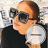 Солнцезащитные очки квадратные Gucci черные в стразах