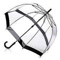 Женский зонт-трость прозрачный Fulton Birdcage-1 L041 Black черный