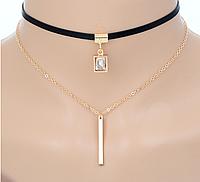Модное ожерелье чокер с белым кристаллом код 1352