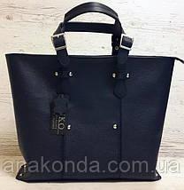 03 Натуральная кожа, Большая сумка женская, синий с тиснением, на молнии, фото 2