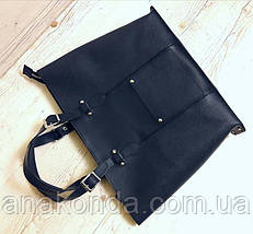 03 Натуральная кожа, Большая сумка женская, синий с тиснением, на молнии, фото 3
