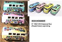 "Машинка жел KINSMART 5"" KT5060YFW Classical Bus (Pastel Color) w/printing метал.инерц.откр.дв. ( Ч)"