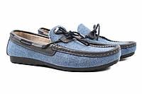 Туфли мужские Tibet джинс \ лен, цвет синий (мокасины, платформа, лето)