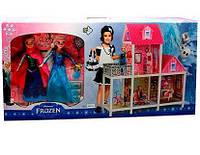 Домик 66913 FR, мебель, кукла 2шт,28см,велосипед, в кор-ке,36-79-13см ( Ч )