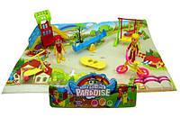 Домик DT8899-2 детская площадка, фигурки, горка, качели,велосипед,скейт, в пакете ( Ч )