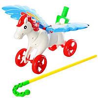 Каталка 0351 на палке40см,лошадка(пегас),машет крыльями,двиг.голов,в кульке,30-34-7,5см( Ч )