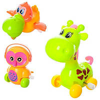 Заводная игрушка 0828-38-58B от9см,3вида (жираф,сова,уточка),подв.детали,в кульке,10,5-7( Ч )