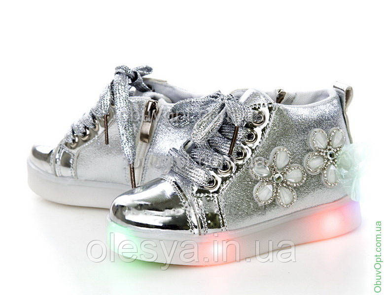 Демисезонные модные ботинки на девочку Размеры 25, 28 Серебро
