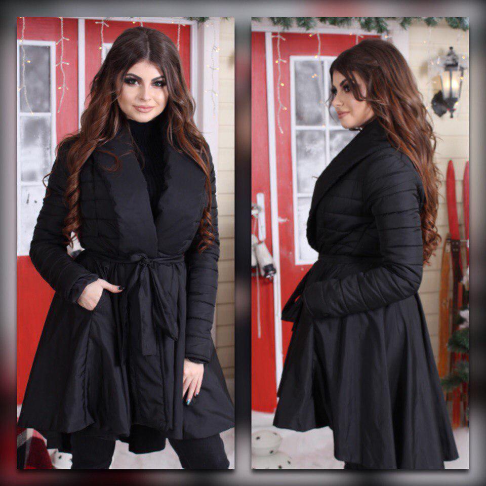 Дутое женское весеннее пальто клеш удлиненное сзади, пояс в комплекте