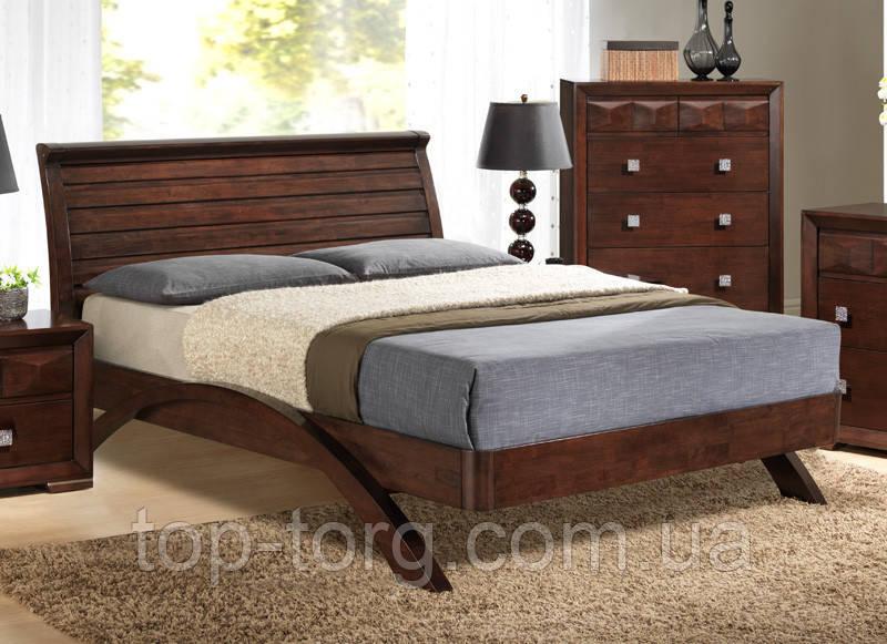 """Кровать """"Фабиан"""", двуспальная 1600х2000мм, мокко/темный орех, деревянная"""