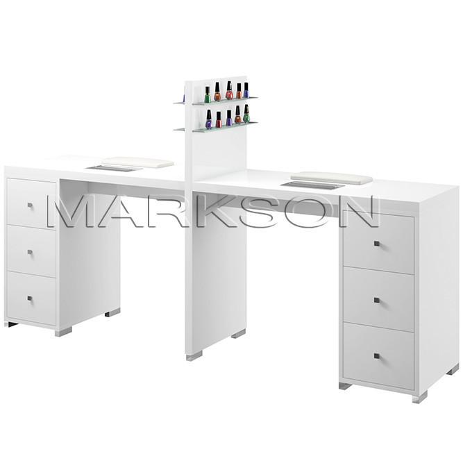 Маникюрный стол двухместный белый М123