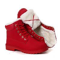 Красные зимние женские ботинки (трекинговые) в стиле Timberland модель B1719-6 RED