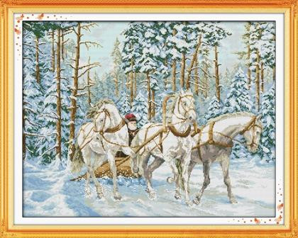 Набор для вышивания крестом NKF Тройка лошадей 14ст F332