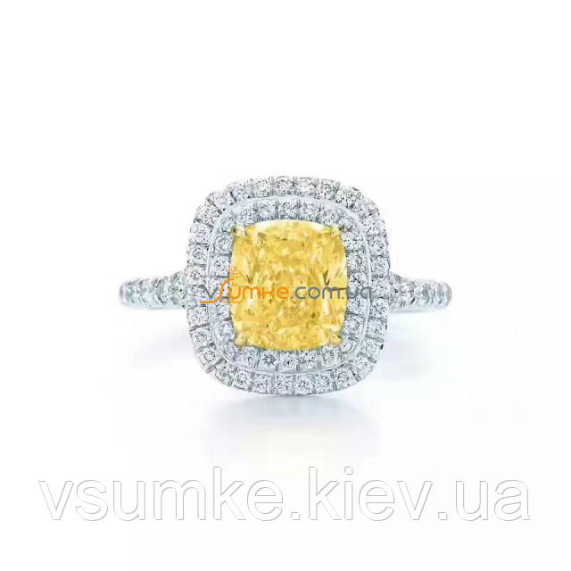30532453d0fb Кольцо с желтым квадратным камнем в стиле Tiffany - Интернет-магазин