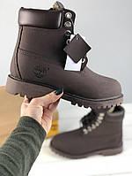 Ботинки Timberland classic 6 inch Dark Brown Fur с мехом. Живое фото (тимберленд)