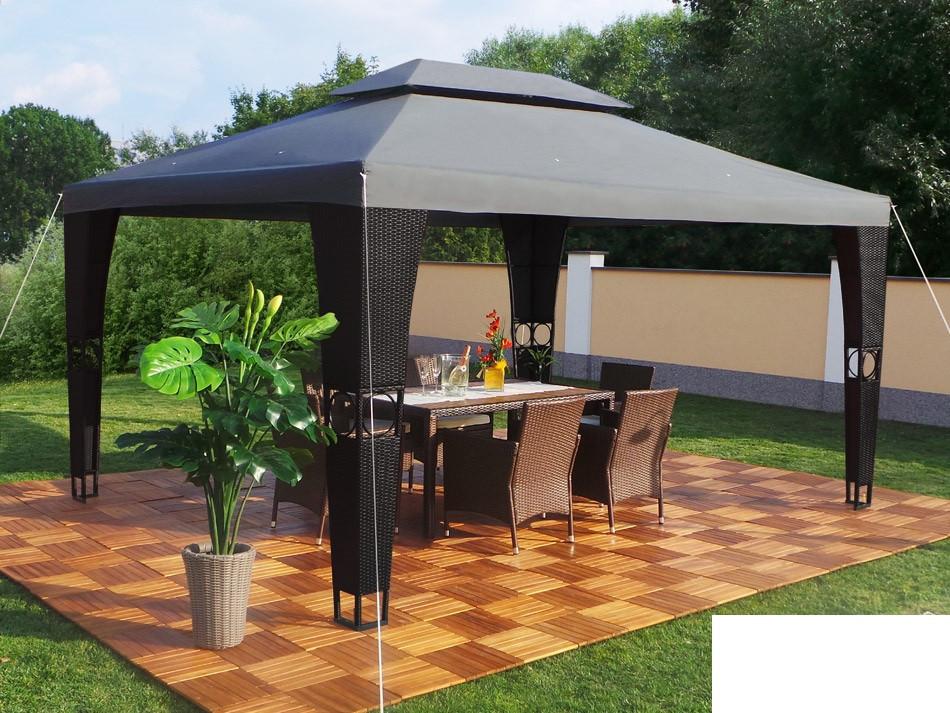 Павильон шатер Ротанговый 3x4 м Черно-серый с Диодным освещением
